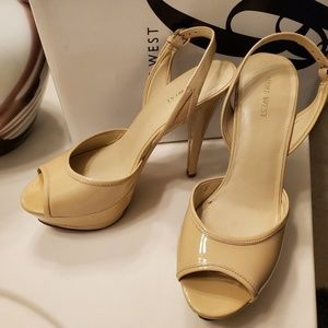 Nine West Nude Platform Heels